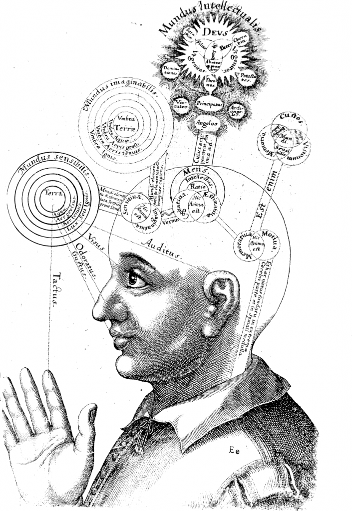 Orbits and cycles are exploding from a student's head in this 17th century engraving.