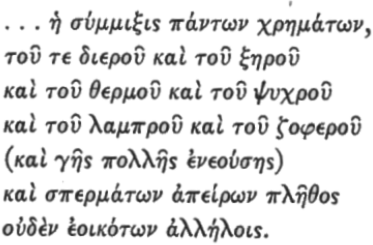 Anaxagoras wrote about sensations and seeds in this fragment of Greek text.