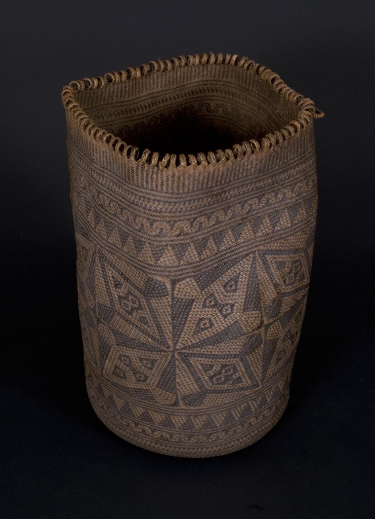 Waves of repetitive sensation are graphically displayed in this rattan weaving from Indonesia.