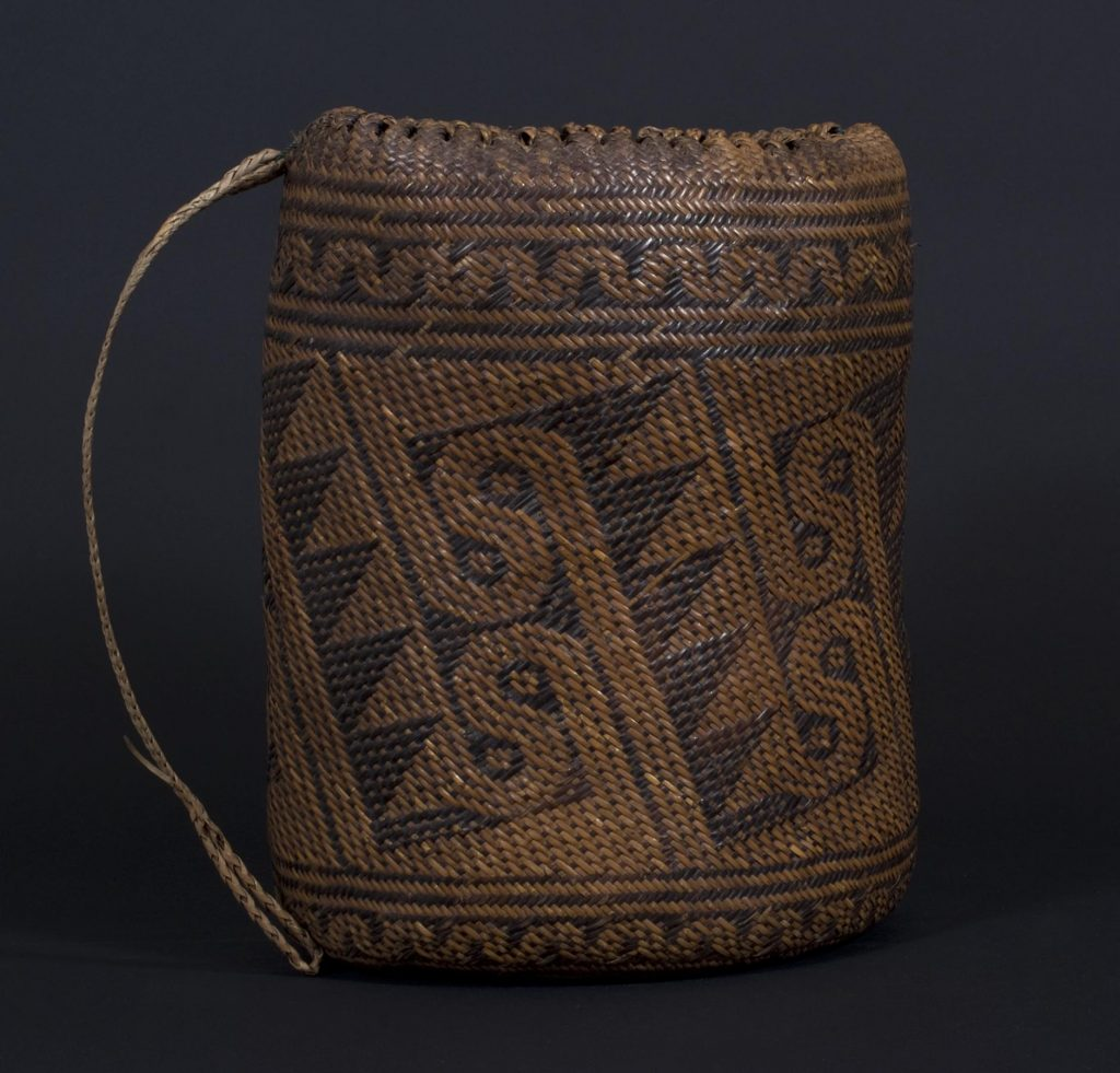 The spatial orientation is used to organize structural relationships, somewhat like this ajat basket from Borneo.
