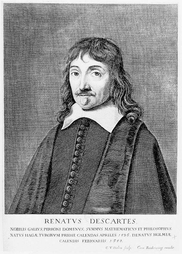 Length measurements determine Cartesian coordinates which were invented by René Descartes who is pictured in this engraving.