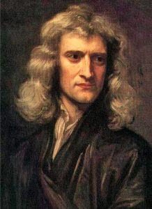 Momentum is identified by Sir Isaac Newton, pictured here, as a central idea in mechanics.