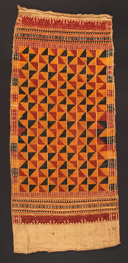 Spatial isotropy due to averaging is suggested by the interlocking patterns in this 19th century Indonesian textile.