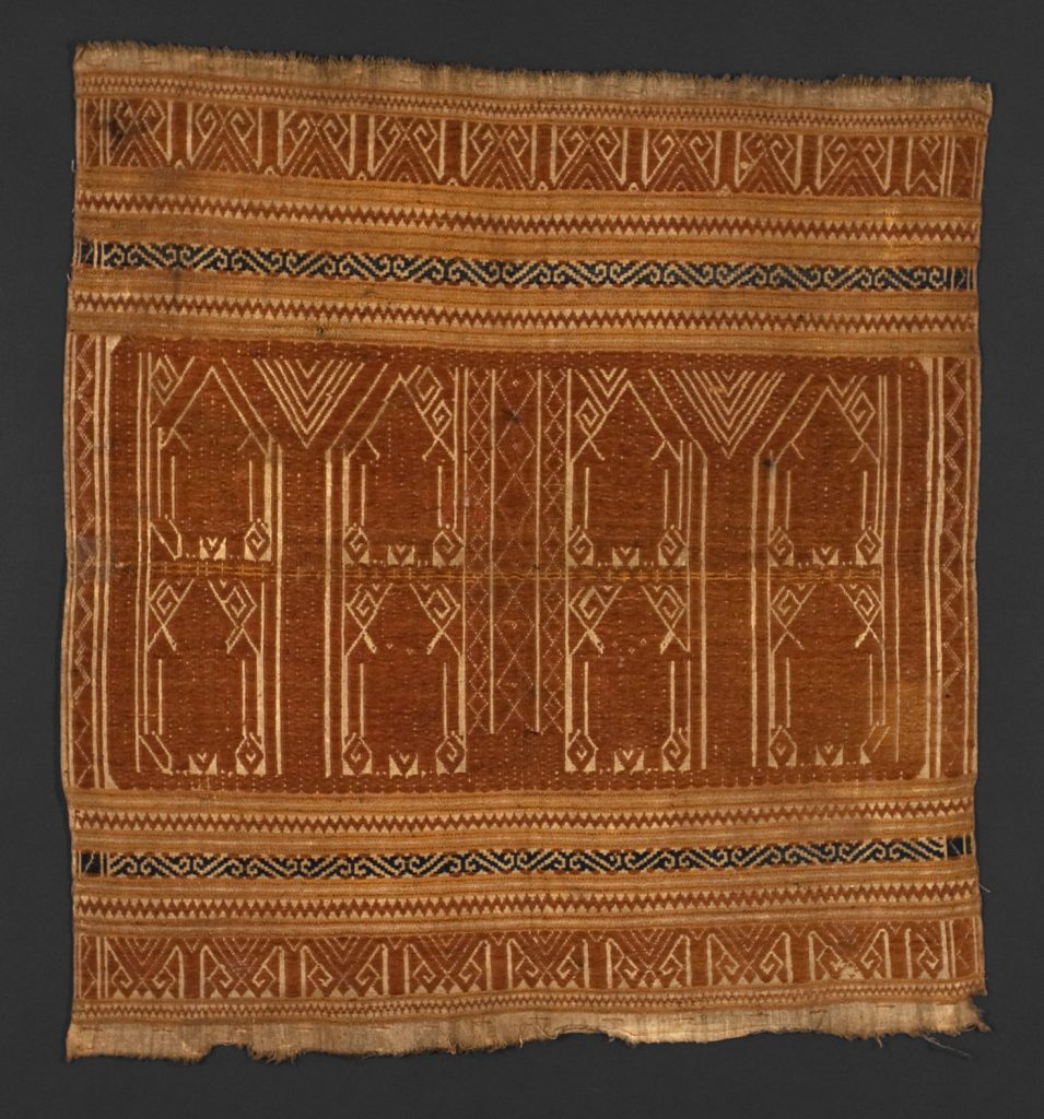 Atoms are objectified from eight-fold patterns of sensation, similar to the anthropomorphic motifs in this Indonesian textile