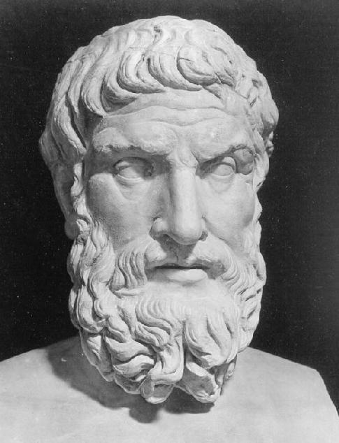 Time was analyzed the ancient Greek philosopher Epicurus who is pictured here.