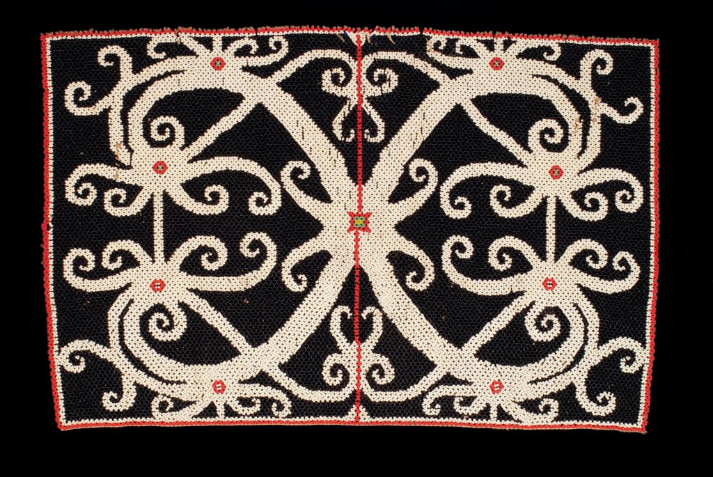Gravitons are objectified from highly symmetric combinations of sensations, as suggested by this bead panel from Borneo.